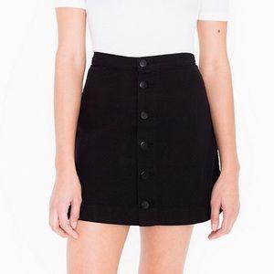 American Apparel Black Denim High Waisted Skirt